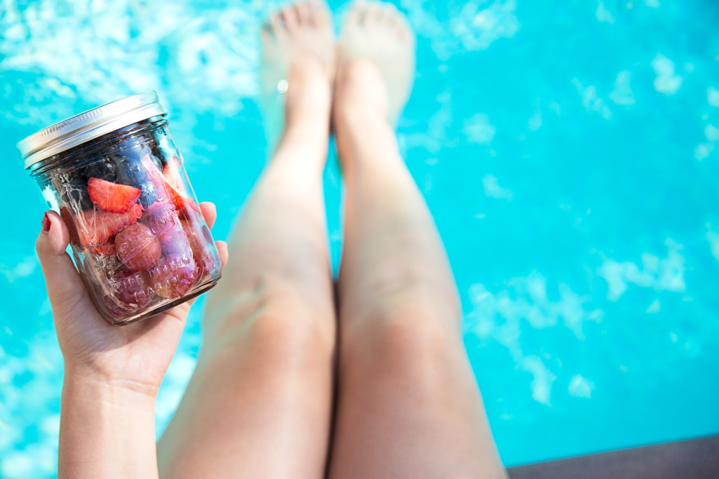 farm fresh organic berry smoothie by pool