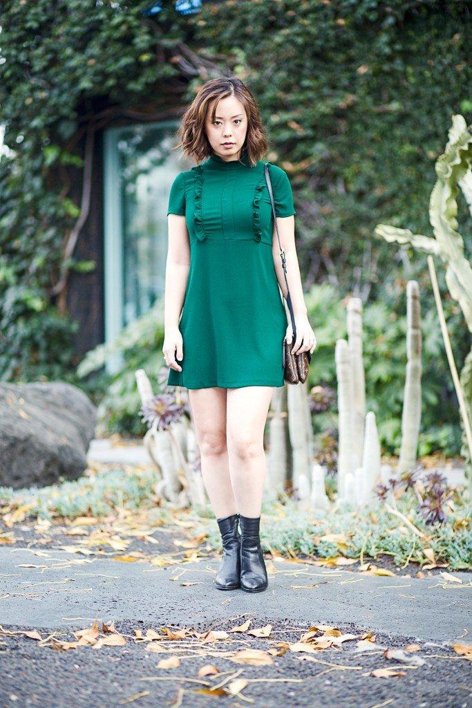 serein wu ruffled green dress
