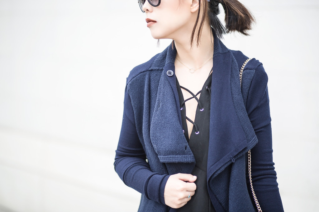 navy duster black lace up blouse
