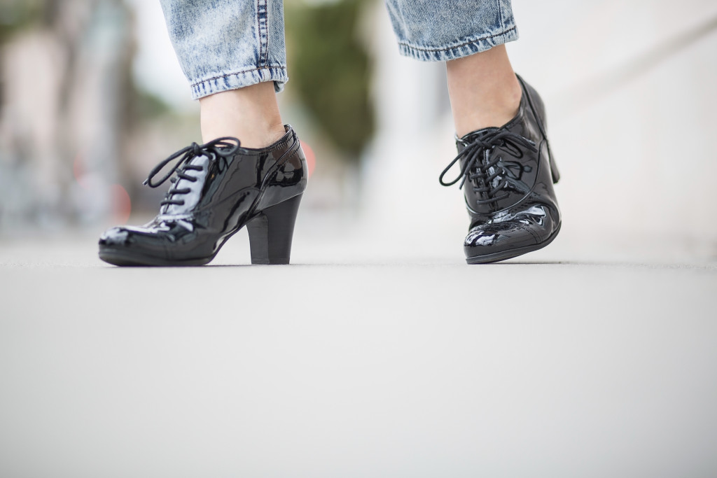 cropped denim patent leather oxfords