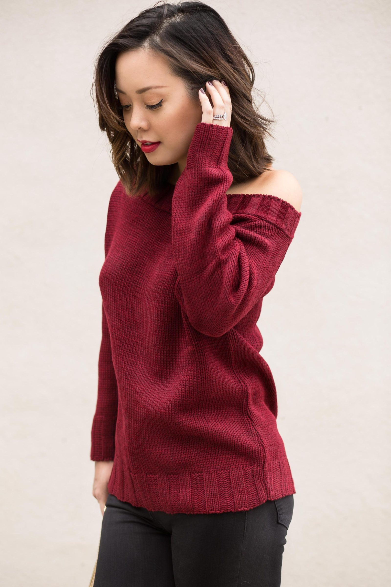 power color red serein wu red sweater
