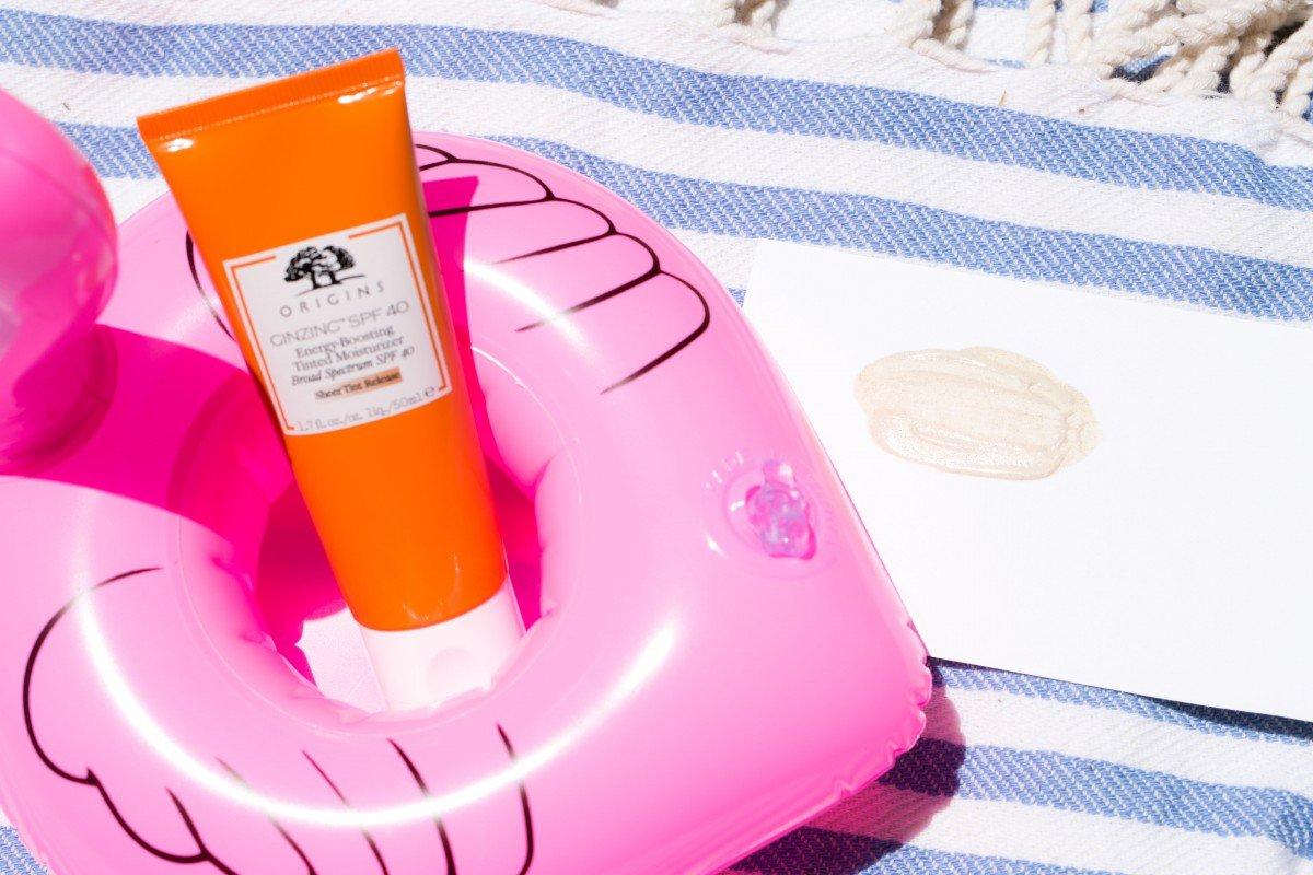 Origins Ginzing Tinted Moisturizer SPF 40 summer glow makeup bag monday 50
