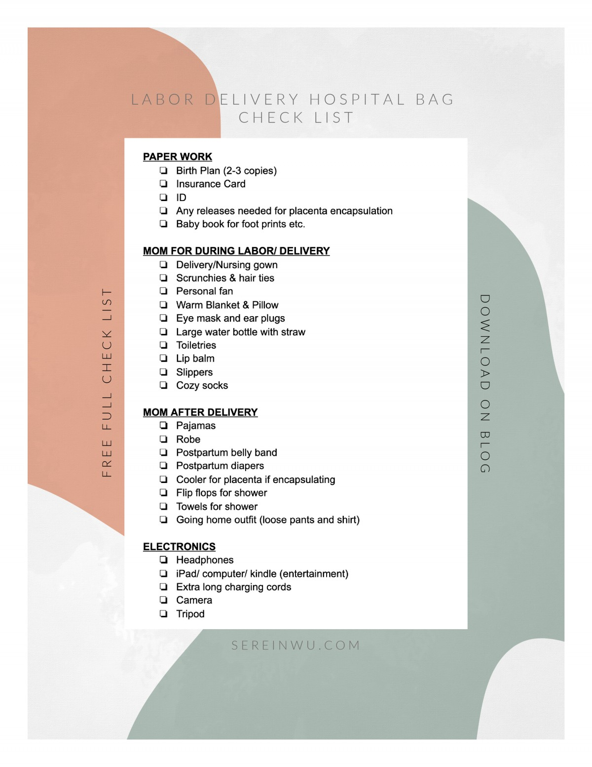 labor delivery hospital check list Serein Wu